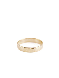 Median Commitment Band / 14kt Yellow Gold / Hammered