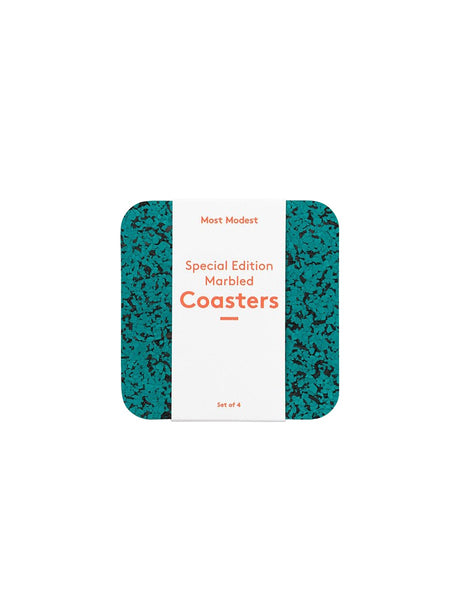 Most Modest - Coasters / Marbled Teal / Set of 4