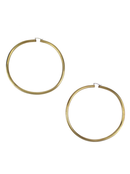 Rollo Hoop Earrings / Brass