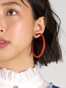 Fashion Earrings - Large Acrylic Hoops / Red