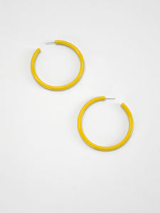 Fashion Earrings - Large Acrylic Hoops / Yellow