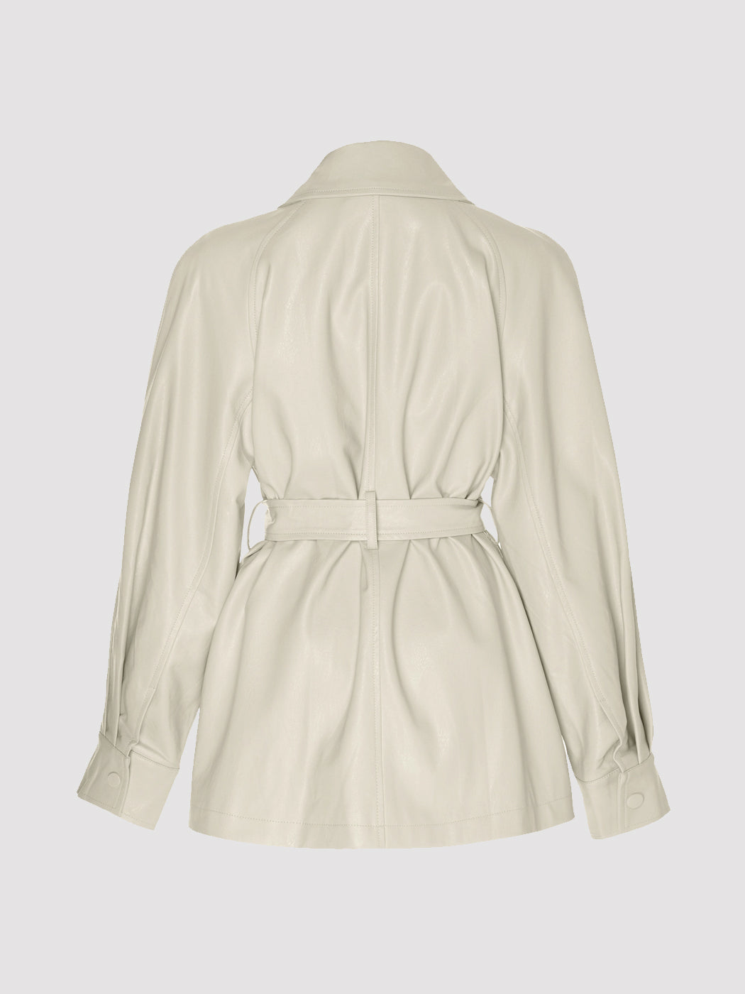 Apparis - Tina Belted Vegan Leather Jacket / Tusk Ivory