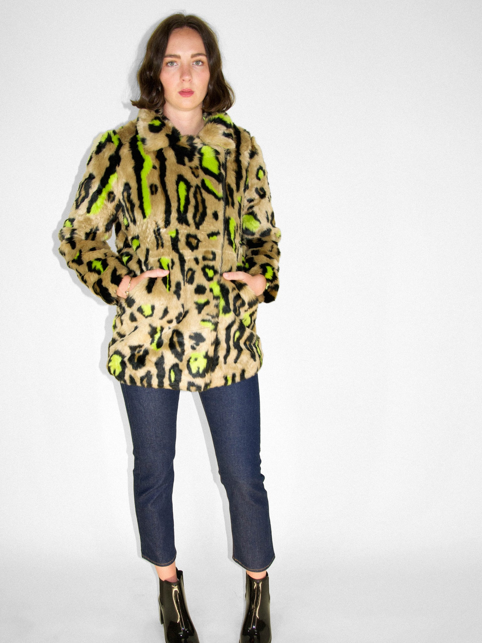 Apparis - Chloe Faux Fur Coat / Neon Leopard