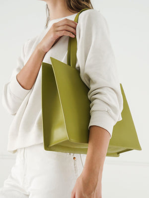 Baggu - Large Leather Retail Tote / Spanish Moss
