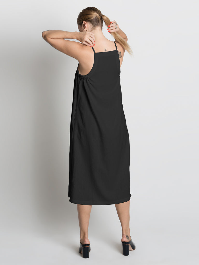 Beth - Yard Dress / Black Linen