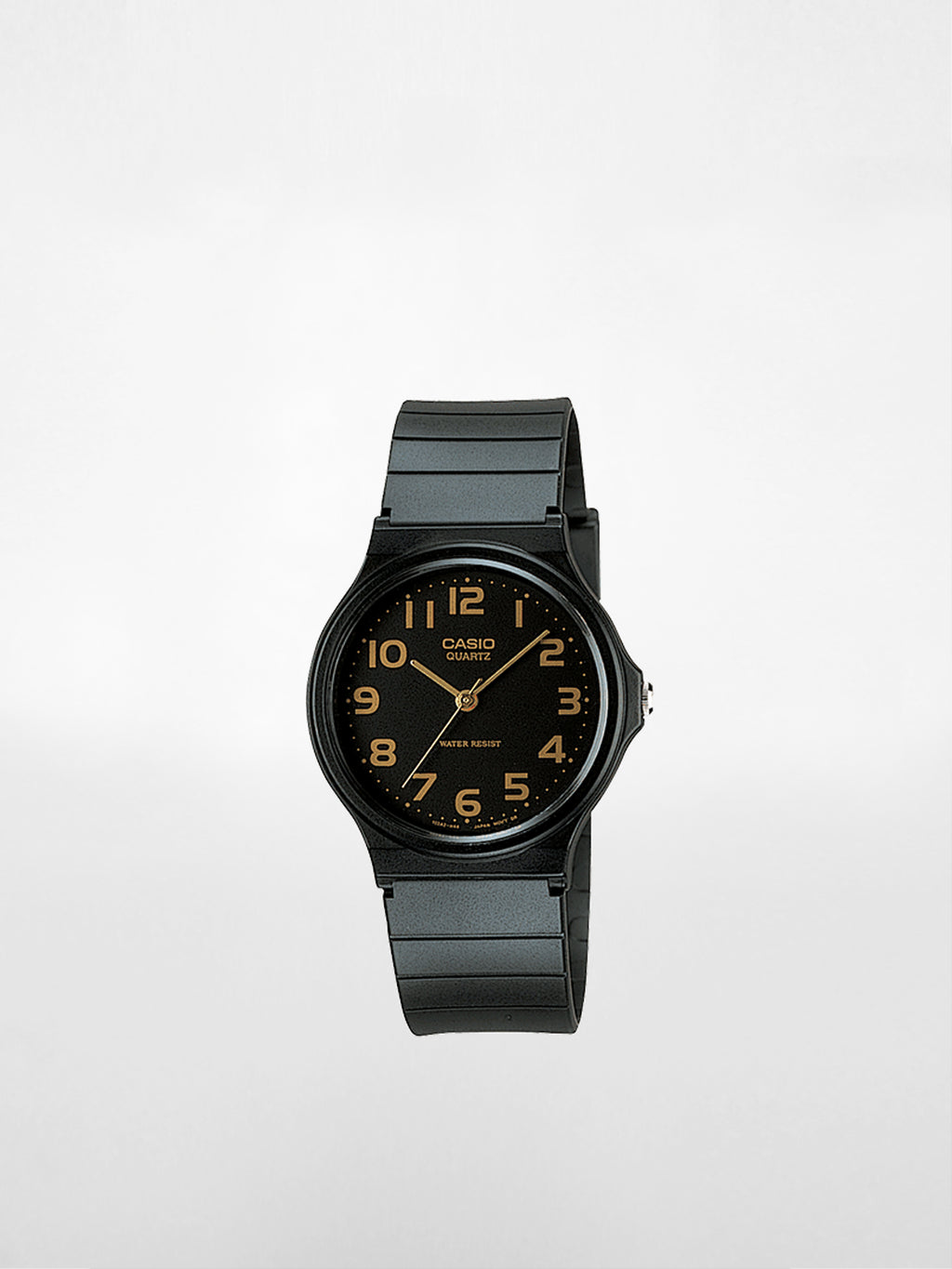 Casio - Analog Resin Band Watch / Black & Black