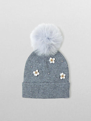 Echo - Flower Pom Hat / Charcoal