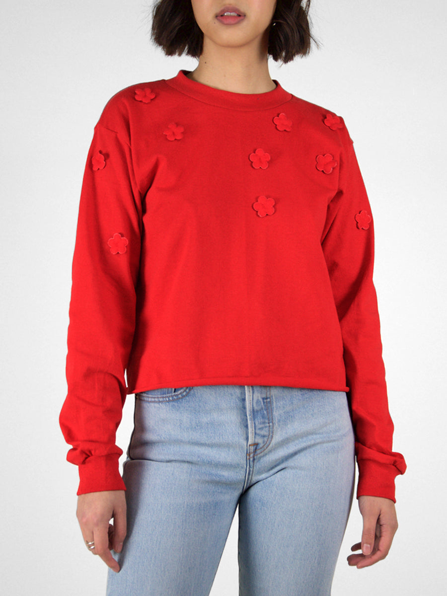 Cropped Long Sleeve Crew Tee / Red With Flowers