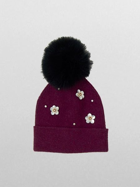 Echo - Flower Pom Hat / Pickled Beet