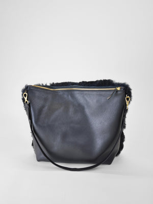 Primecut - Hobo Purse / Black Fluffy Shearling