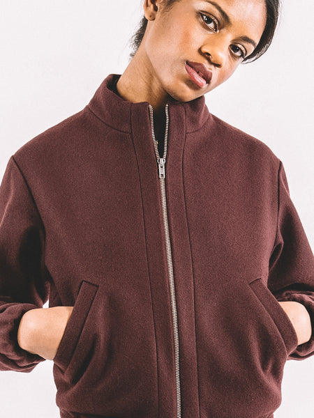 Sally Bomber / Maroon Wool Melton