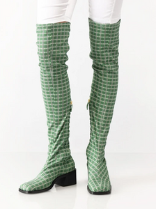Suzanne Rae - Over the knee green plaid boot 40