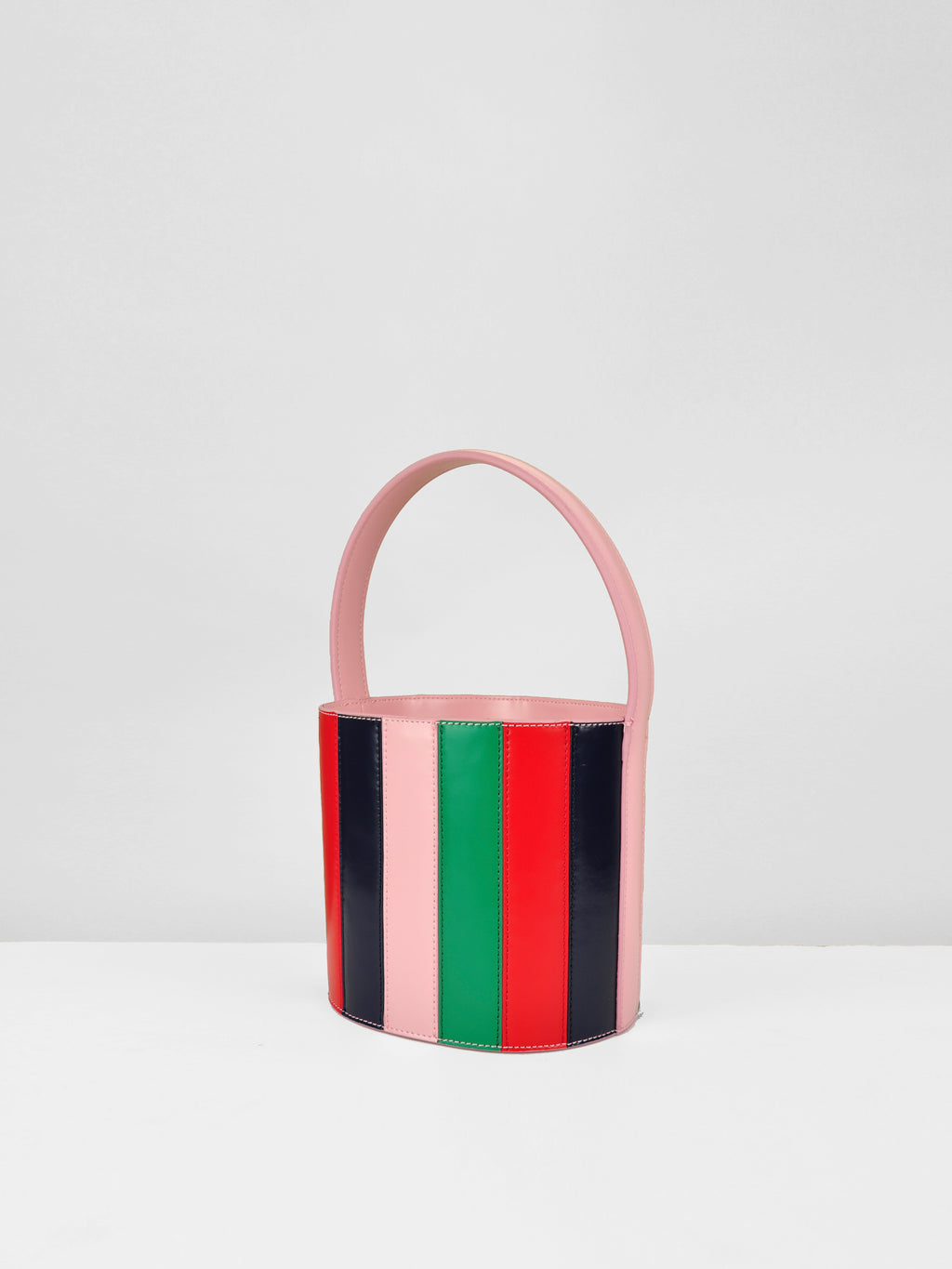 Striped Leather Bucket Bag / Chiclet