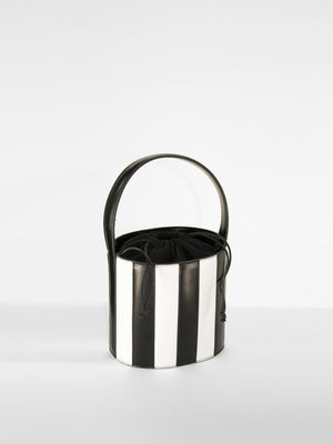 Striped Leather Bucket Bag / Blackjack