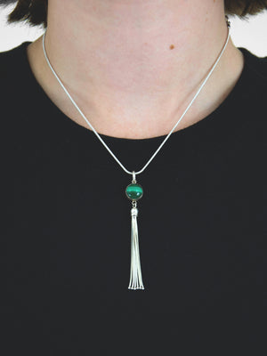 Talisman Tassel Necklace / Malachite