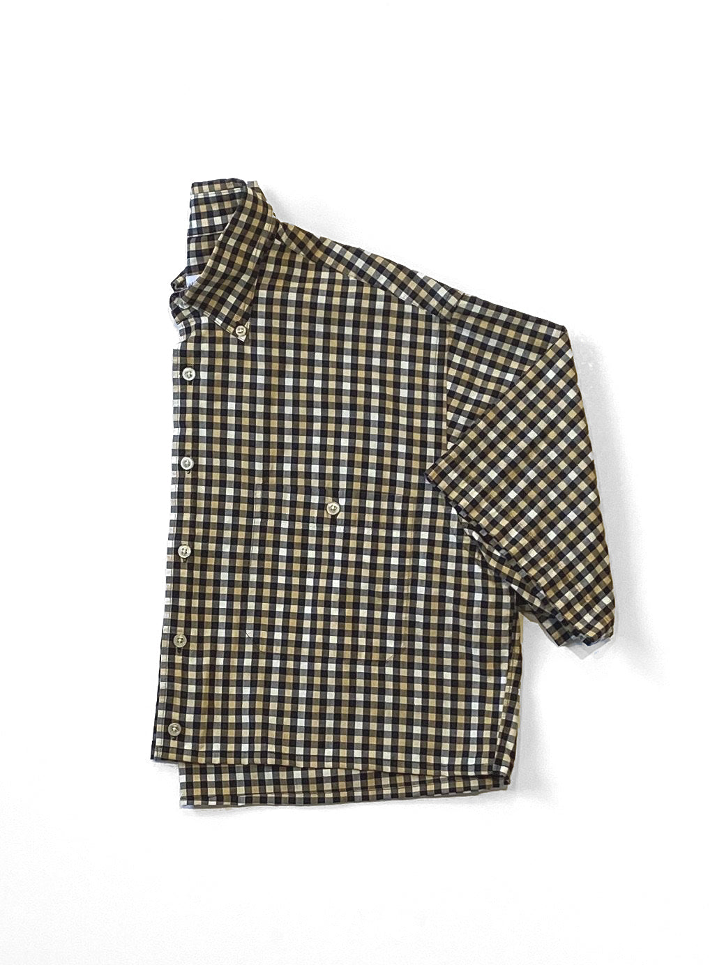 UP! - Reworked Button-Down Shirt  / Tan Plaid
