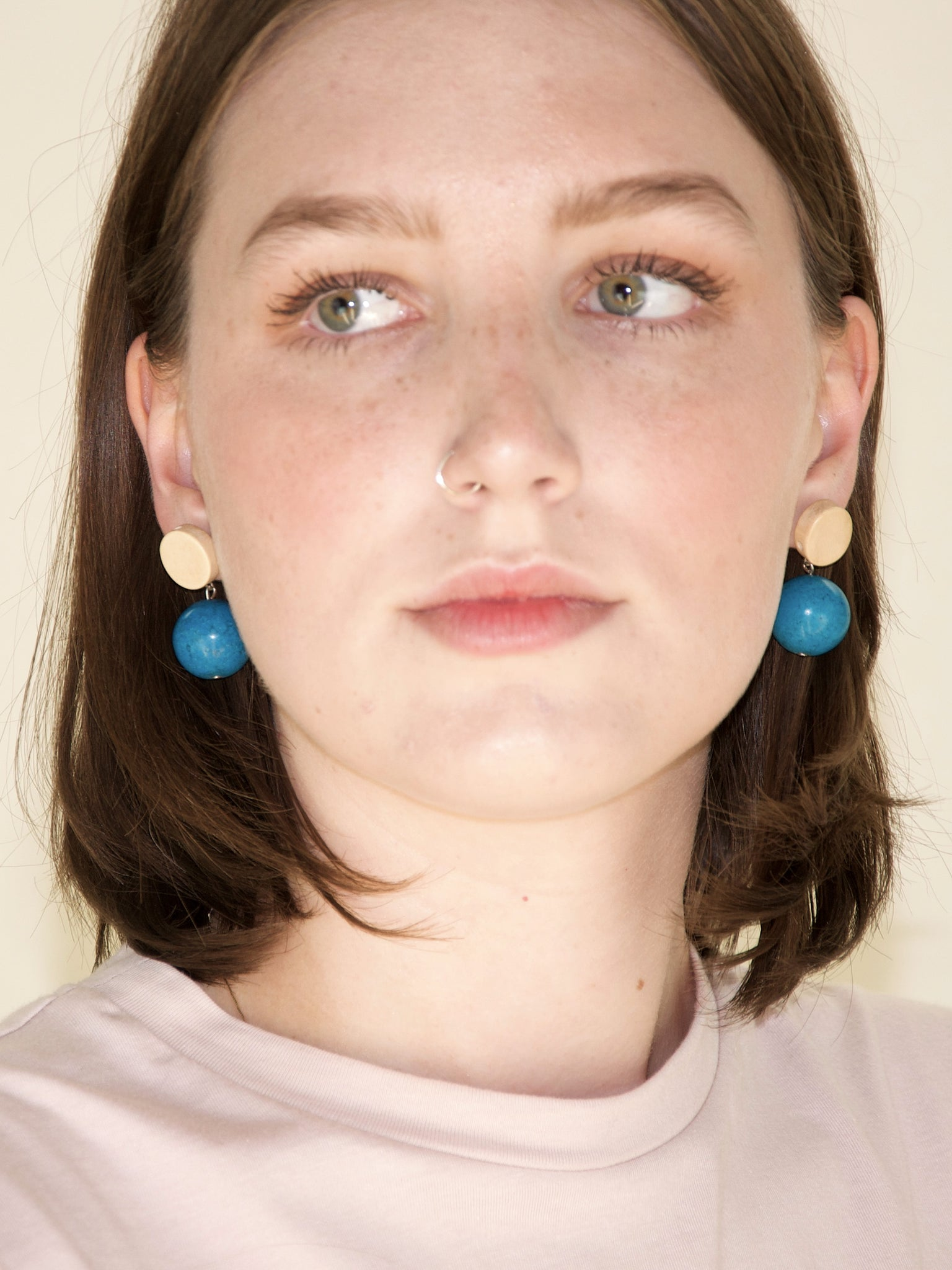 afterimage earrings no.04 / blue marble sphere