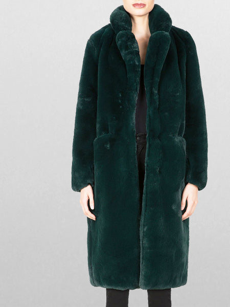 Apparis - Laurie Faux Fur Coat / Forest Green