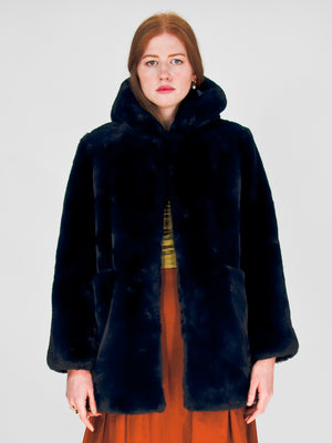 Apparis - Marie Faux Fur Coat / Navy Blue