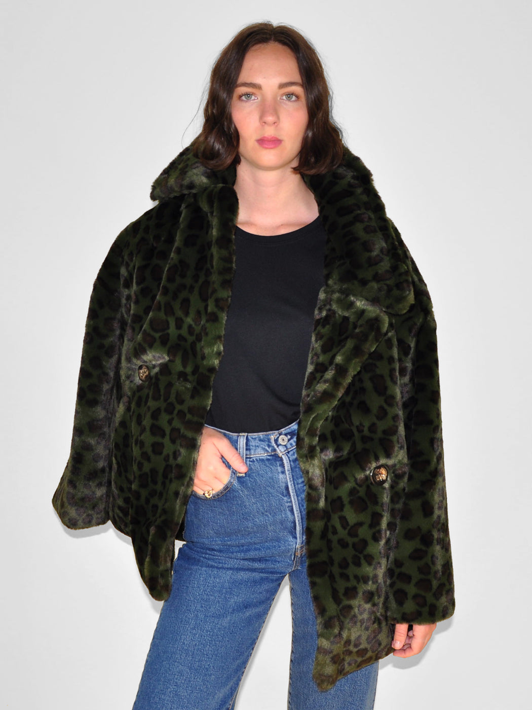 Apparis - Amelia Faux Fur Coat / Green Leopard
