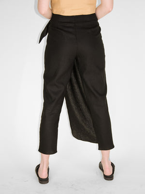 Argus Wrap Pants / Black Linen
