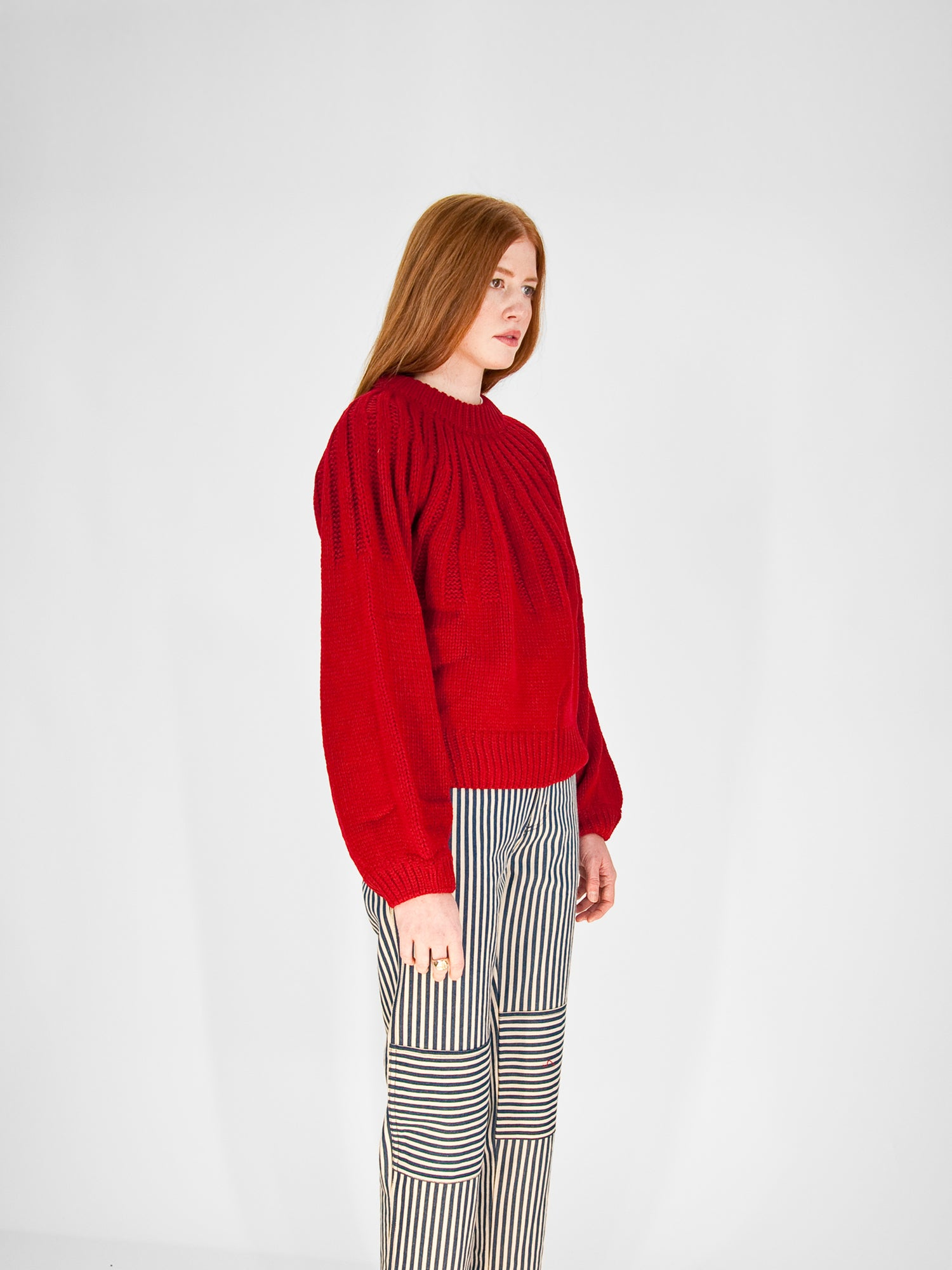Balloon Sleeve Sweater / Red