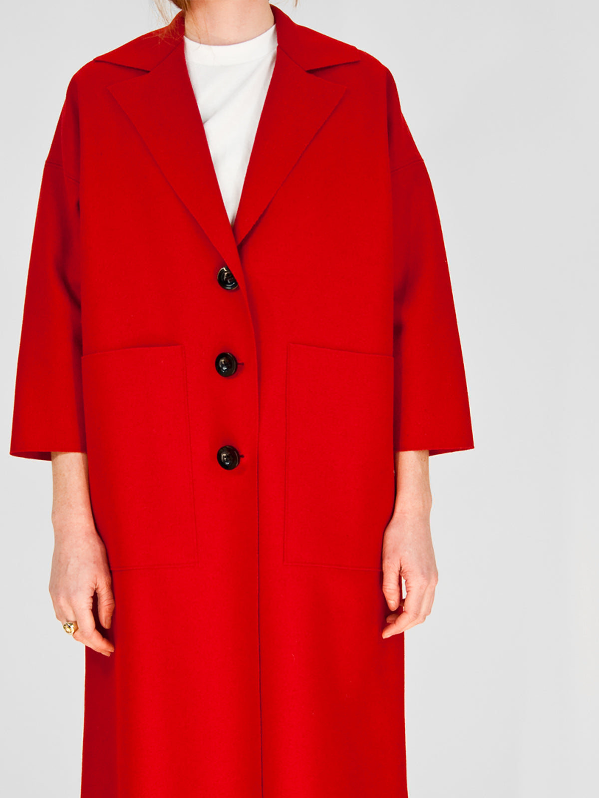 Beth - Cabin Coat / Red Melton Wool