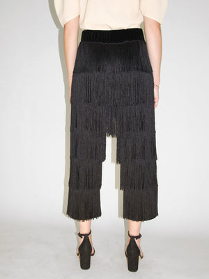 Beth - Crawford Fringe Pants / Black Velvet