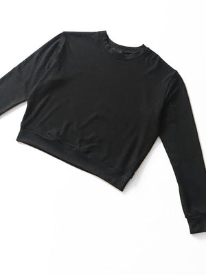 Beth - Organic Cropped Sweatshirt / Black