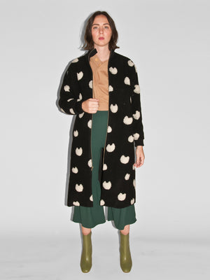 Blob Coat / Black & White Spotted Wool