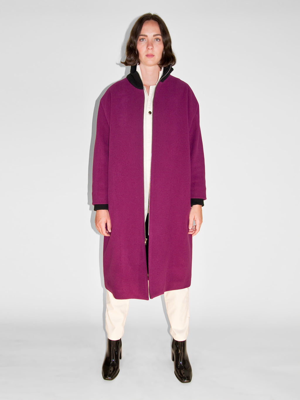 Blob Coat / Magenta Melton Wool