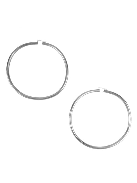 Rollo Hoop Earrings / Silver