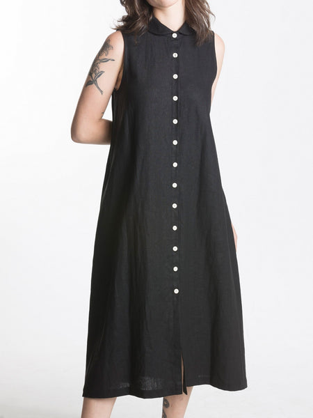Bossa Dress / Black Linen