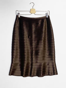 IGWT Vintage - Satin Tiered Skirt / Chocolate Brown