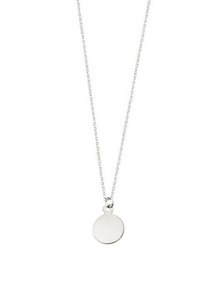 Mini Circle Pendant Necklace / Silver