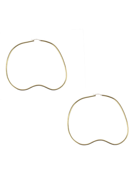 Bean Hoop Earrings / Brass