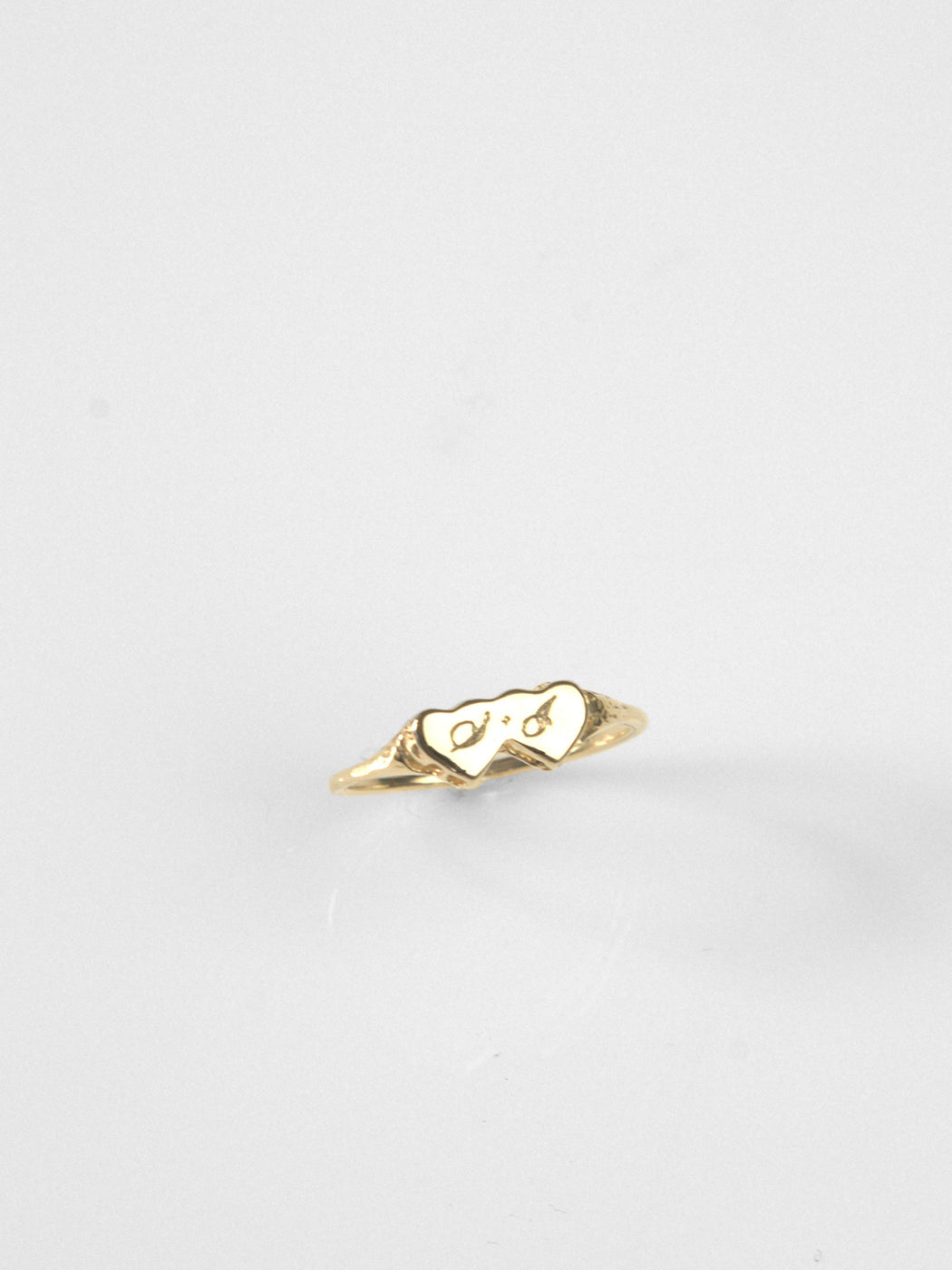 Double Heart Ring / 14kt Yellow Gold