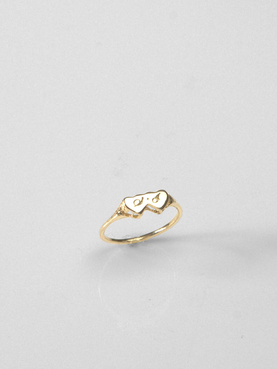 Double Heart Ring / Sterling Silver
