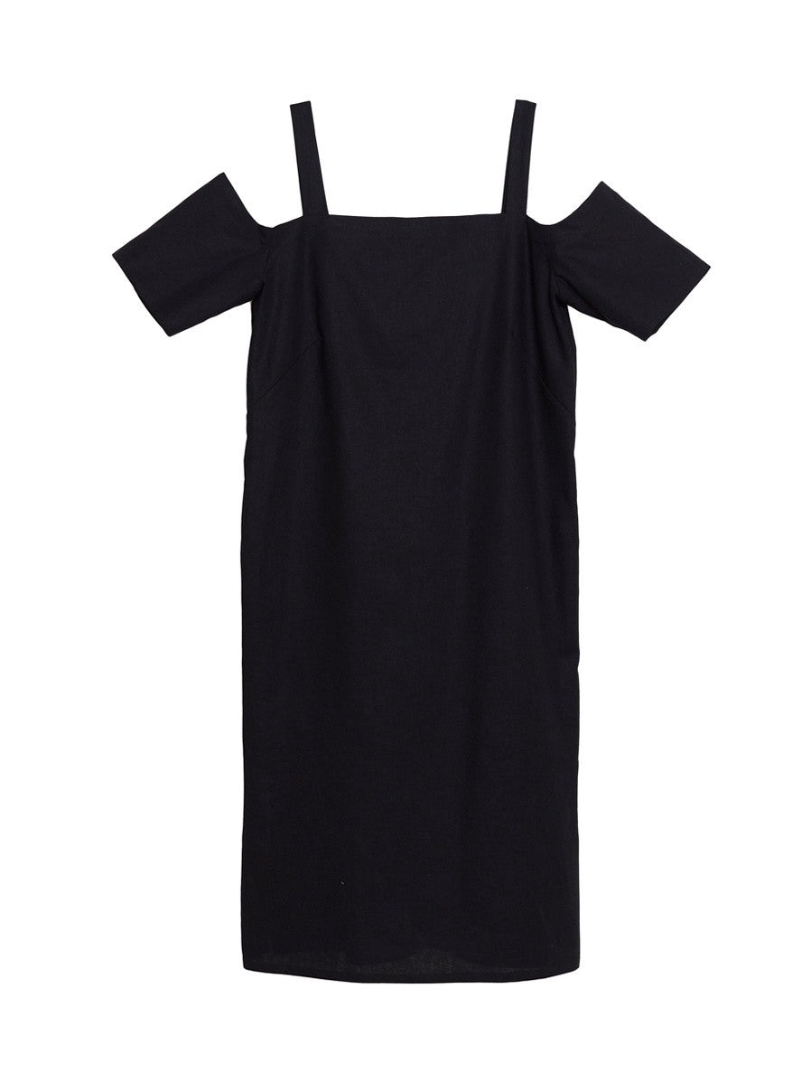 Bernice Dress / Black Linen
