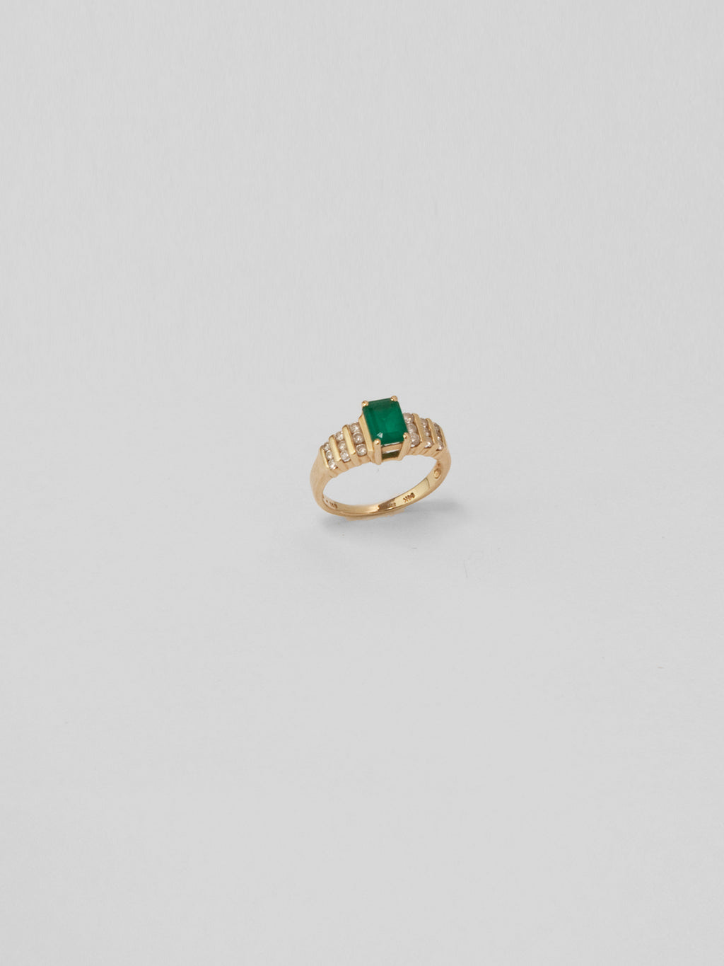 Emerald Cut Emerald And Diamond Ring / 14Kt Yellow Gold