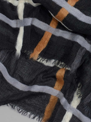 Echo - Felted Stripe Oblong Scarf / Black