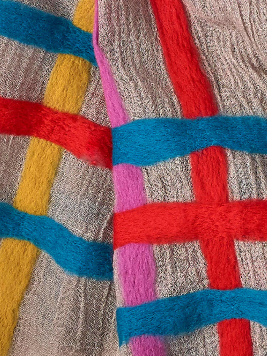 Echo - Felted Stripe Oblong Scarf / Multi