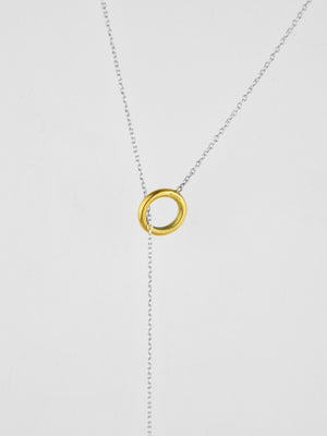 Fletching Lariat Necklace / Brass & Sterling Silver