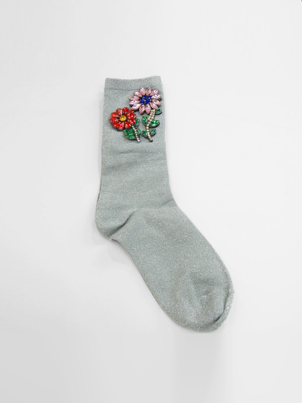 Flower Patch Socks / Silver Sparkle