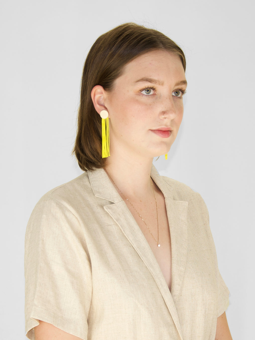 afterimage earrings no.10 / lemon fringe