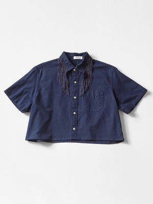 UP by Beth - Reworked Button-Down Shirt  / Navy Fringe