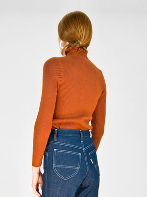 hugs - Rouched Rib Knit Turtleneck / Terracotta