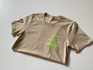 Working Girls - Vote Tee / Tan & Neon Green
