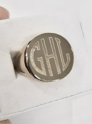 in god we trust ( IGWT) custom engraving circular monogram example