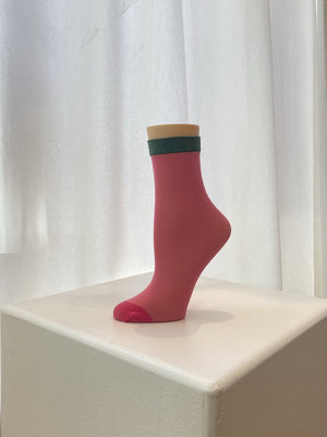 Fun Socks - Solidified Sheer Anklet / Pink + Green